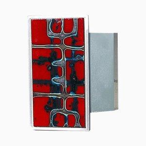 Belgischer Mid-Century Türgriff aus roter Keramikfliese & Aluminium von Juliette Belarti, 1960er