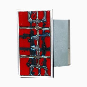 Mid-Century Belgian Red Ceramic Tile & Aluminum Push Door Handle by Juliette Belarti, 1960s