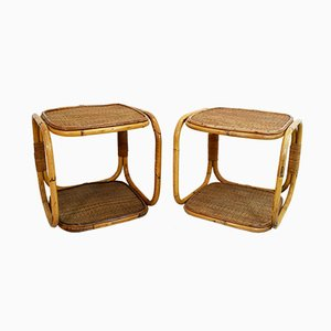Tables de Chevet Mid-Century en Rotin, Italie, 1960s, Set de 2