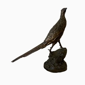 Antique Art Nouveau French Bronze Pheasant Sculpture from Societe des Bronzes de Paris