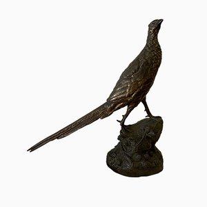 Französische antike Bronzeskulptur in Fasanen-Optik von Societe des Bronzes de Paris