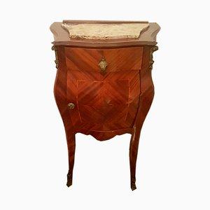 Mesita de noche estilo Luis XV italiana antigua de nogal