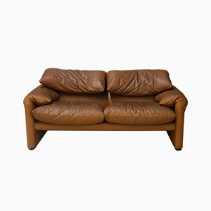 Italian Leather Maralunga Sofa by Vico Magistretti for Cassina, 1970s
