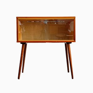 Small Mid-Century Czechoslovakian Glass & Wood Cabinet, 1960s
