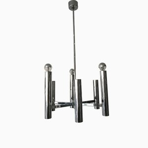 Chromed Steel 6-Light Chandelier by Gaetano Sciolari, 1960s