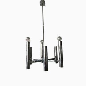 Lampadario a sei luci in acciaio cromato di Gaetano Sciolari, anni '60