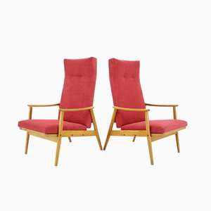 Beech and Fabric Adjustable Armchairs from Thonet, 1970s, Set of 2