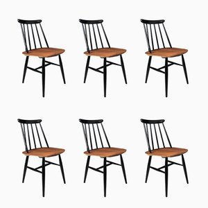 Mid-Century Scandinavian Beech & Teak Spindle Back Chairs by Ilmari Tapiovaara for Edsby Verken, Set of 6