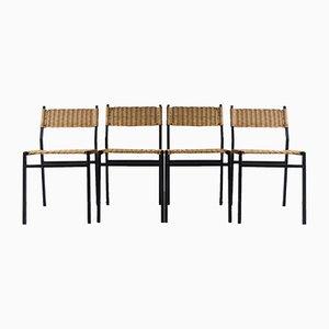 Chaises de Salle à Manger SE05 en Métal et Osier par Martin Visser pour t 'Spectrum, 1960s, Set de 4