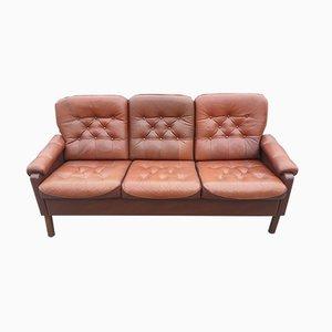 Vintage Danish Brown Leather Sofa, 1970s