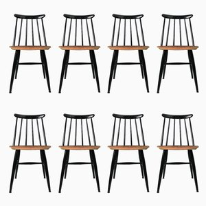 Mid-Century Scandinavian Beech & Teak Spindle Back Chairs by Ilmari Tapiovaara for Edsby Verken, Set of 8