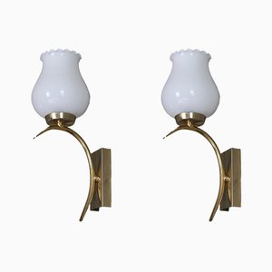 Art Deco Style French Mouth-Blown Glass Sconces, 1970s, Set of 2