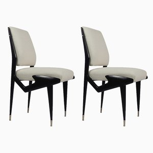 Italian Ebonized Wood Side Chairs by Ico & Luisa Parisi, 1950s, Set of 2