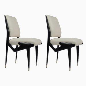 Italienische Beistellstühle aus ebonisiertem Holz von Ico & Luisa Parisi, 1950er, 2er Set