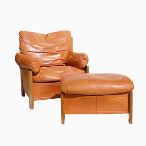 Artona Leather and Wood Lounge Chair with Ottoman by Tobia & Afra Scarpa for Maxalto, 1970s