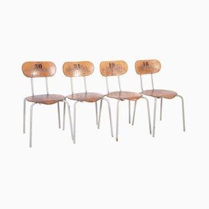 Industrielle Esszimmerstühle aus Metall & Schichtholz, 1970er, 4er Set