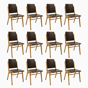 Mid-Century Beech and Plywood Dining Chairs by Franz Schuster for Wiesner-Hager, Set of 12