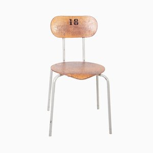 Industrial Metal and Plywood Side Chair, 1970s