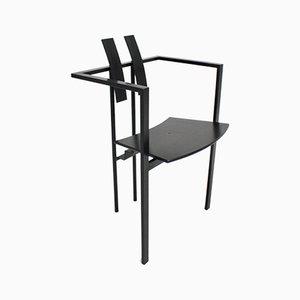 Sedia postmoderna in metallo nero e compensato, anni '80