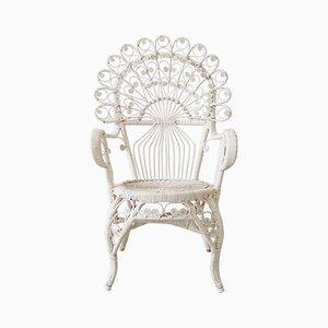 Mid-Century White Rattan Peacock Chair, 1967