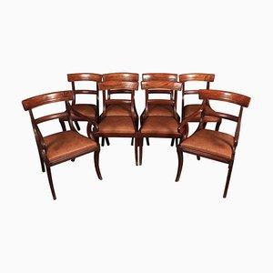 Antike Esszimmerstühle aus Leder und Mahagoni, 8er Set