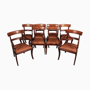 Antique Leather and Mahogany Dining Chairs, Set of 8