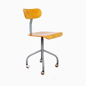 Industrial German Plywood & Tubular Steel Swivel Chair from Mafi, 1950s