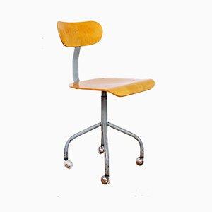 Industrial German Plywood & Tubular Steel Swivel Chair from Mafi, 1950s
