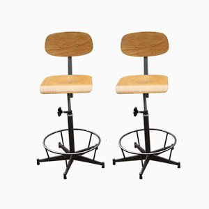 Industrial French Steel & Compressed Wood Swivel Chairs, 1970s, Set of 2