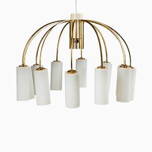 Moderne dänische Deckenlampe aus Messing & Glas, 1960er