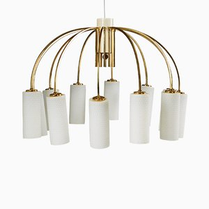 Modernist Danish Brass and Glass Ceiling Lamp, 1960s