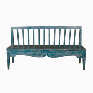 Antique Swedish Painted Wooden Bench