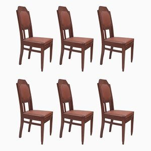 German Solid Oak & Leather Chairs, 1910s, Set of 6