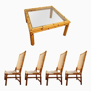 Art Deco Table and 4 Bamboo Chairs Set, 1940s