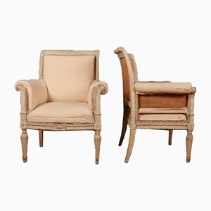 Antique French Wooden Armchairs, Set of 2
