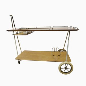 Norwegian Modern Brass and Wood Bar Trolley, 1950s