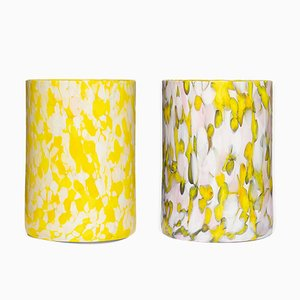 Yellow, Ivory & Pink Glasses by Stories of Italy, Set of 2