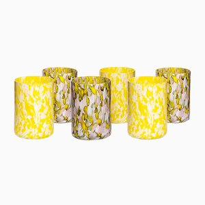 Yellow, Ivory & Pink Glasses by Stories of Italy, Set of 6