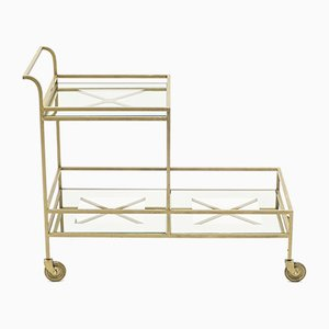 French Gold Wrought Iron Serving Trolley by Jean Royère, 1950s
