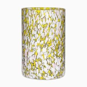 Vaso alto in vetro giallo, avorio e rosa di Stories of Italy