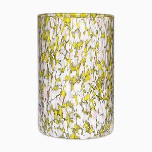 Yellow, Ivory & Pink Tall Glass Vase by Stories of Italy