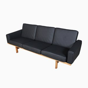 Danish Oak & Leather Model 236/3 Sofa by Hans J. Wegner for Getama, 1960s
