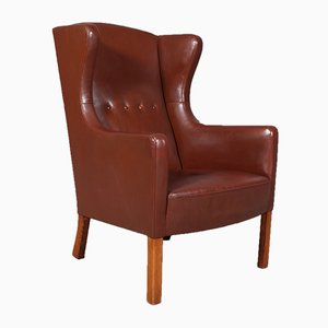 Danish Leather Wingback L3 Chair by Børge Mogensen for FDB, 1950s
