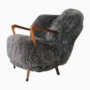 Mid-Century Grey Sheepskin Easy Chair, 1960s