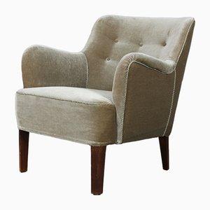 Danish Velvet Lounge Chair by Peter Hvidt, 1950s