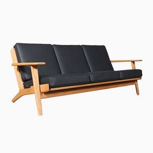 Dänisches Modell 290-3 Sofa aus Leder & Eichenholz von Hans J. Wegner für Getama, 1970er