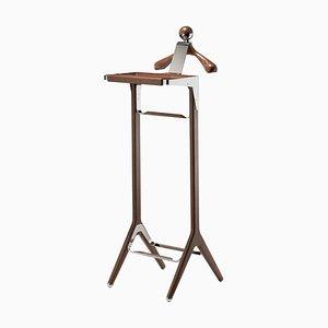 Valet vintage in acciaio inossidabile e legno di noce nero di Honorific