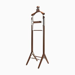 American Black Walnut & Polished Stainless Steel Permanent Style Valet Stand by Honorific
