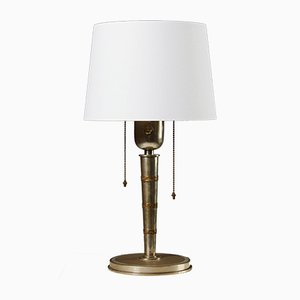 Swedish Brass & Textile Table Lamp by Tore Kullander, 1930s
