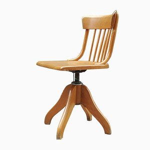 Beech and Steel Adjustable Swivel Desk Chair from Stoll, 1960s